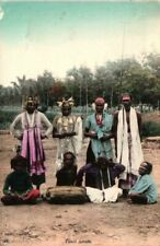 More details for ceylon sri lanka tamil actors postcard c1910 musicians singapore