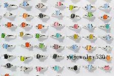 FREE Wholesale Lots Jewelry 100Pcs Natural Cat Eye Gemstone Silver Plated Rings