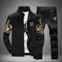 2PCS Trendy Mens Zip Sweatshirt Coat + Pants Sets Tracksuit Hoodies  Sport Suit