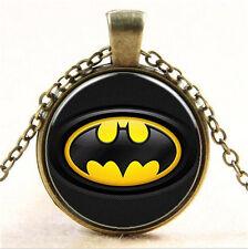 Vintage Superhero Batman Cabochon Tibetan Bronze Glass Chain Pendant Necklace