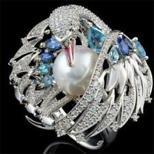 Animal Fashion Women Ring Size9 Fashion Vintage Pearl 925 Silver Blue Topaz Bird