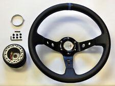 Toyota 35cm JDM Black Blue Deep Dish Steering Wheel w/ Boss Kit Hub Adapter