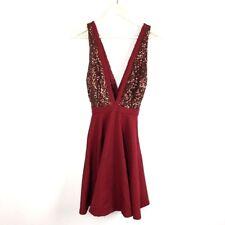 Melon (D1-16) Women's Medium Maroon Red Dress A-line Knee Length Flare Sequins