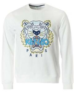 Kenzo Icons Tiger Embroidered Cotton Logo Sweatshirt Jumper White Large