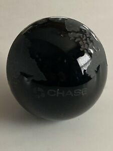 """😎 VINTAGE PAPERWEIGHT SOLID GLASS FROSTED WORLD GLOBE BLACK CHASE BANK 3"""""""