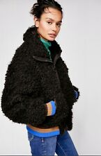 Free People Faux Fur Jacket Bomber High In The Sky Zip Striped Trim black S NEW