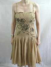 Coast Size 10 Tan embroidered party dress