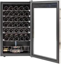 "Smeta 17"" Width 28 Bottles Wine Cooler Wine Fridge Refrigerator Stainless Steel"