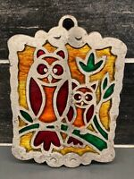 Vtg Cast Iron Owl Trivet Orange Yellow Green Red Stained Glass Look MCM Retro