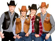 Adult COWBOY WAISTCOAT Wild West Fancy Dress Rodeo Costume Sheriff + Hat Option