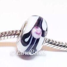 FLORAL White Black Pink_Murano Glass Bead For Silver European Charm Bracelet_B52