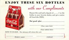 Vintage Advertising Card Free Six-Pack Coca-Cola Girl in Green, Pause Refreshes