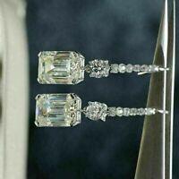 4 Ct Emerald-Cut Diamond Drop-Dangle Fine Art Deco Earring 14k White Gold Finish