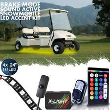 "4x 24"" Strip LED GOLF CART KART LED UNDERGLOW NEON LIGHT KIT w/Switch Brake Mode"