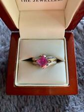 Pink sapphire and diamond  9 ct ring