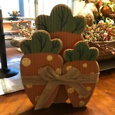 Wood & Burlap Easter Carrots Decor Hang or Tabletop 3D Easter Decoration New