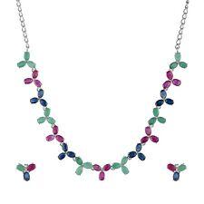 925 Sterling Silver Oval Cut Ruby Emerald Sapphire Stud Earrings Necklace Set