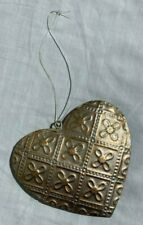 Gold Colour Heart Hanging Decoration Made of Tin Sparkle & Embossed Finish