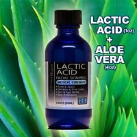 Lactic Acid Skin Peel 25% and 100% PURE ORGANIC ALOE VERA GEL Moisturizer Combo