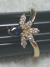 14K Gold ring with Sapphire and Diamonds - free shipping