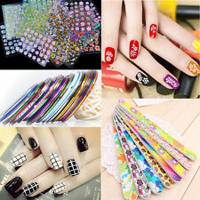 3 in 1 Beauty Water Transfer 3D Flower Stickers Nail Art Tips DIY Feather Decals