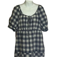 Cato Women's Scoop Neck Short Sleeve Blue Plaid Peasant Top Side Zip Plus 18/20