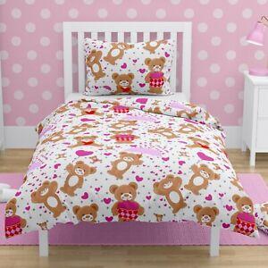 Pink Love Hearts Girls Toddler Duvet Bedding Set Cot Bed Cover 150x120 cm COTTON