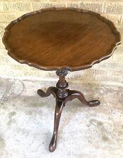Antique Mahogany Pie Crust Wine Tea Table Rope Twist Bowl Tripod Base Pad Feet