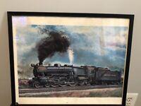 Vintage Gil Reid '72 Pennsylvannia Railroad #5425 In Black Frame