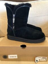 UGG Australia Girl's Florence Sheepskin Boots Zip Black Kid's Youth Sz 3