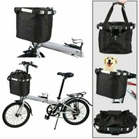 Foldable Bicycle Front Basket Bike Handlebar Basket Pet Cat Carrier Frame Bag