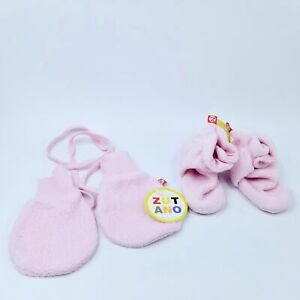 Zutano Pink Fleece Baby Booties Mittens String 6-12 Months New Lot 2 Winter
