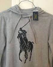 Polo Ralph Lauren Men's Big Pony Hooded Hoodie T-Shirt Gray Jersey Small NWT