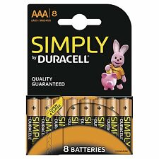 8 AAA MINI STILO DURACELL Pile Batterie Alcaline DURACELL SIMPLY LR03 MN2400