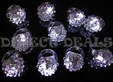 12 Pcs White LED Light Up Jelly Rings Frozen Snow Party Favors Glow Blinking New