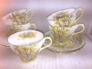 "Set of 5 SHELLEY Demitasse Cup & Saucer Set ""DAFFODIL TIME"""