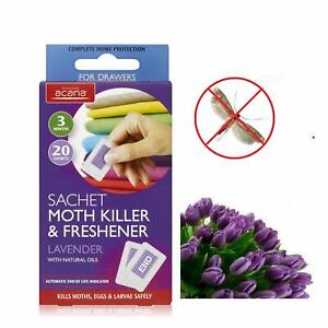 Pack 20 Acana Moth Killer Sachets Lavender Freshener Fragrance Kills Moths Eggs