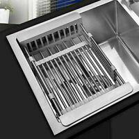 Steel Dish Drying Rack Telescopic Drain Basket Organizer Kitchen F8W3
