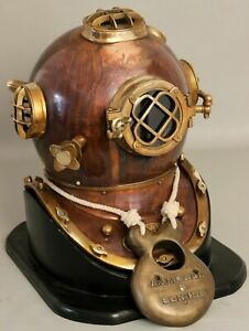 Antique U.S Navy Mark V Boston Diving Divers Helmet Copper & Brass With Base A16