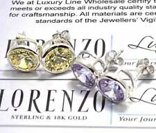 Authentic Lorenzo .925 Sterling Silver, Topaz & Amethyst Lot of 2 Pair Earrings