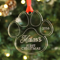 Personalised Dog Puppy First Christmas Paw Bauble Family Pet Keepsake Xmas Gift