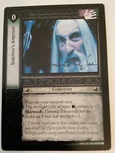original hand signed Christopher Lee lord of the rings trading card