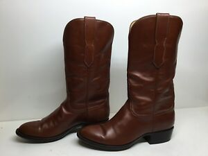 MENS HANDMADE  COWBOY BROWN BOOTS SIZE 7.5 E