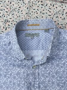 TED BAKER - White - Navy Floral/Paisley - Button Cuff - FLORALL - Shirt - Size 4