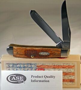Case XX Brown Bone Sawcut Jig Mini Trapper 22752 Pocket Knife