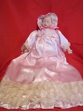 "Vintage Porcelain Sleeping Baby Doll 16"" tall with Lacey Dress and Bonnet Bows"