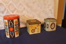 More details for 3 vintage collectable tin tea caddy's