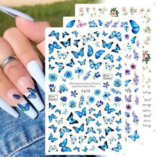 Holographic Butterfly Nails Art Stickers Blue Black Decals Flowers Decorations