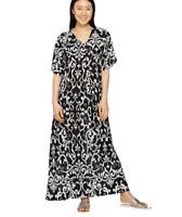 Joan Rivers Regular Length Sensational Swirl Pattern Knit Caftan - Black - XS