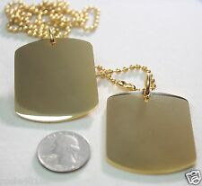 GOLD IPG PLATED PENDANT 2 X LARGE  DOG TAG SOLID  STAINLESS STEEL MILITARY STYLE